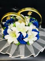 Кольца с синими розами и белыми лилиями kl_037